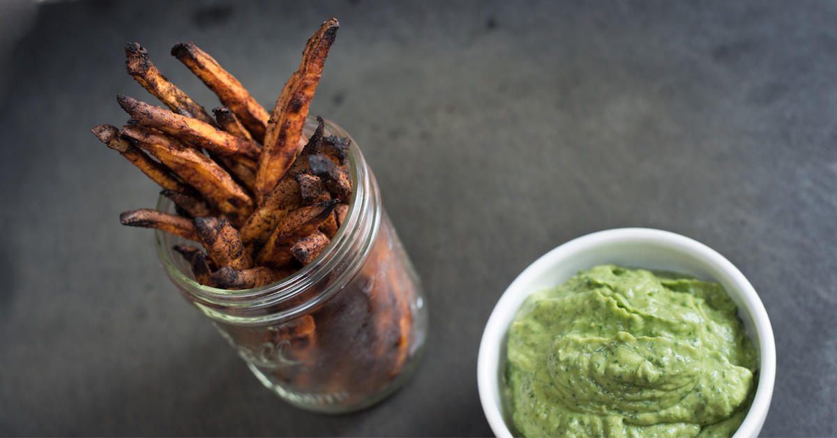 sweet potato fries and avocado dipping sauce
