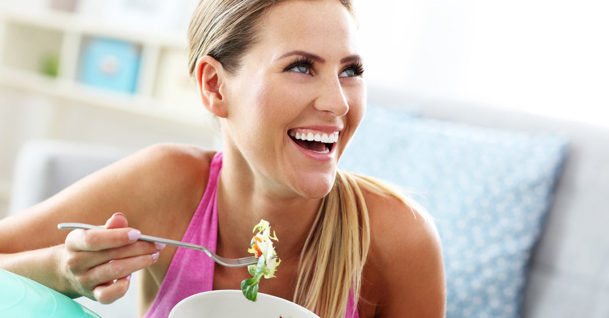 Health woman eating